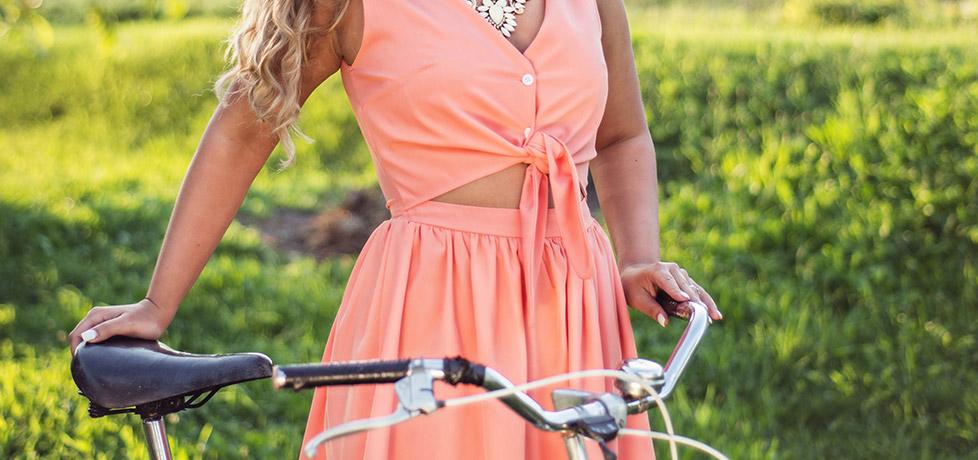 SkirtBike Oradea, Rochia roz pal sheinside gata pentru pedalat iulia andrei fashion blog