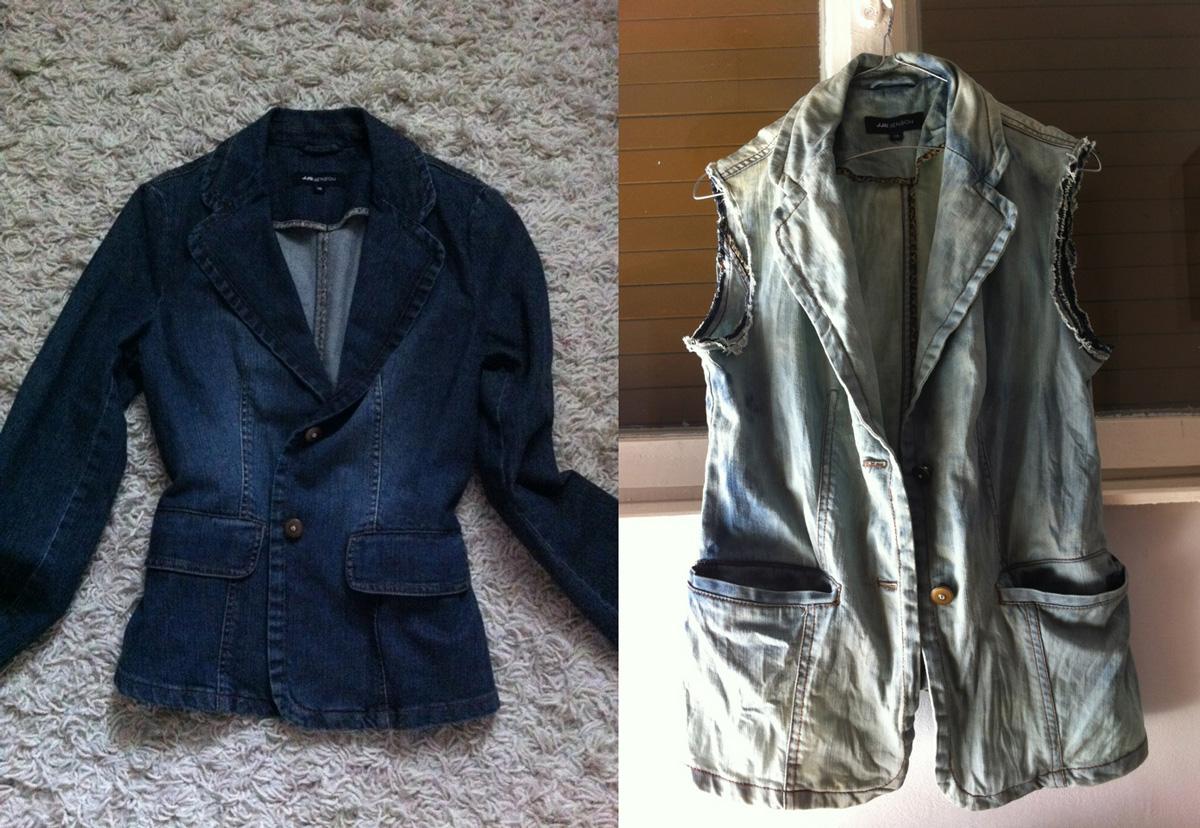 cum sa modific o geaca de blugi in vesta de blugi Iulia Andrei fashion Blog