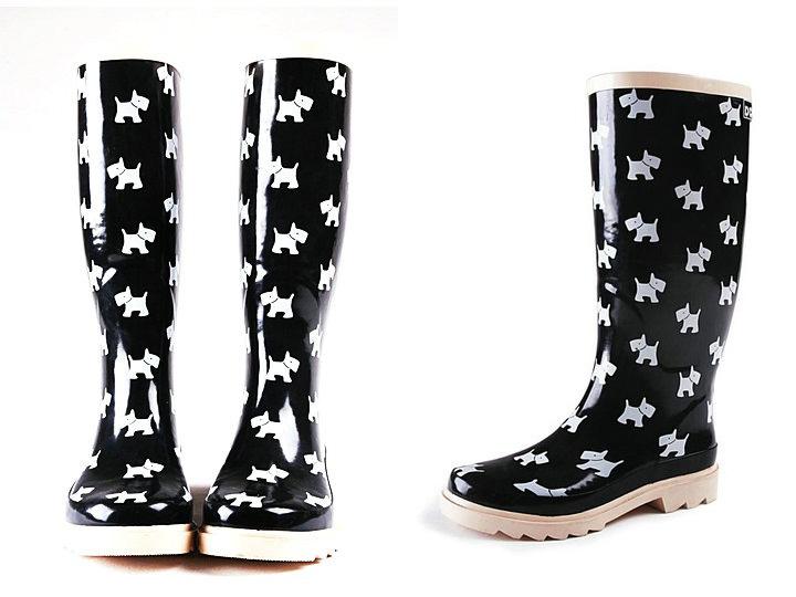 comanda online cizme din cauciuc negre cu catei Iulia Andrei fashion blog