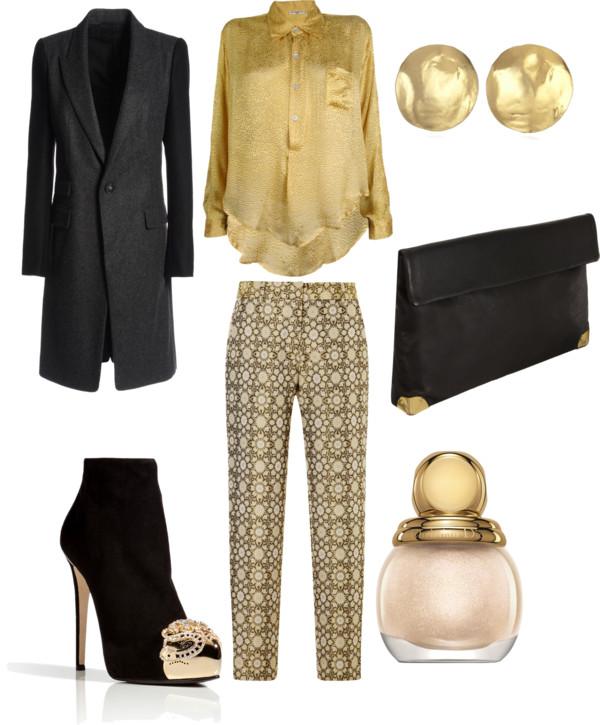 cum ma imbrac de craciun tinuta casual pantaloni imprimeu auriu iulia andrei fashion blog