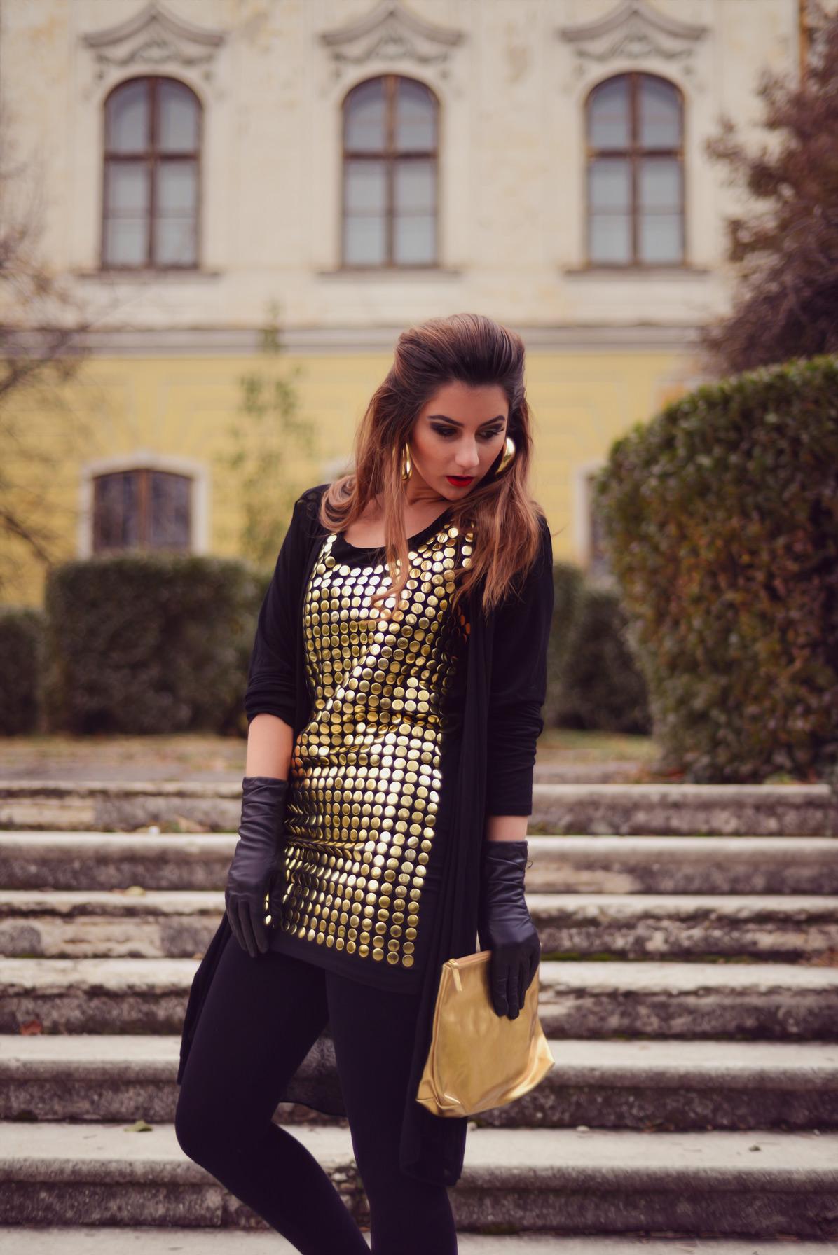 rochie statement de revelion iulia andrei fashion blog tinuta aurie noaptea dintre ani 2014