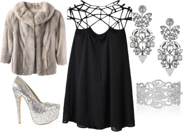 tinuta de revelion 2014 la cabana cu prietenii rochie neagra pantofi stralucitori argintii iulia andrei fashion blog