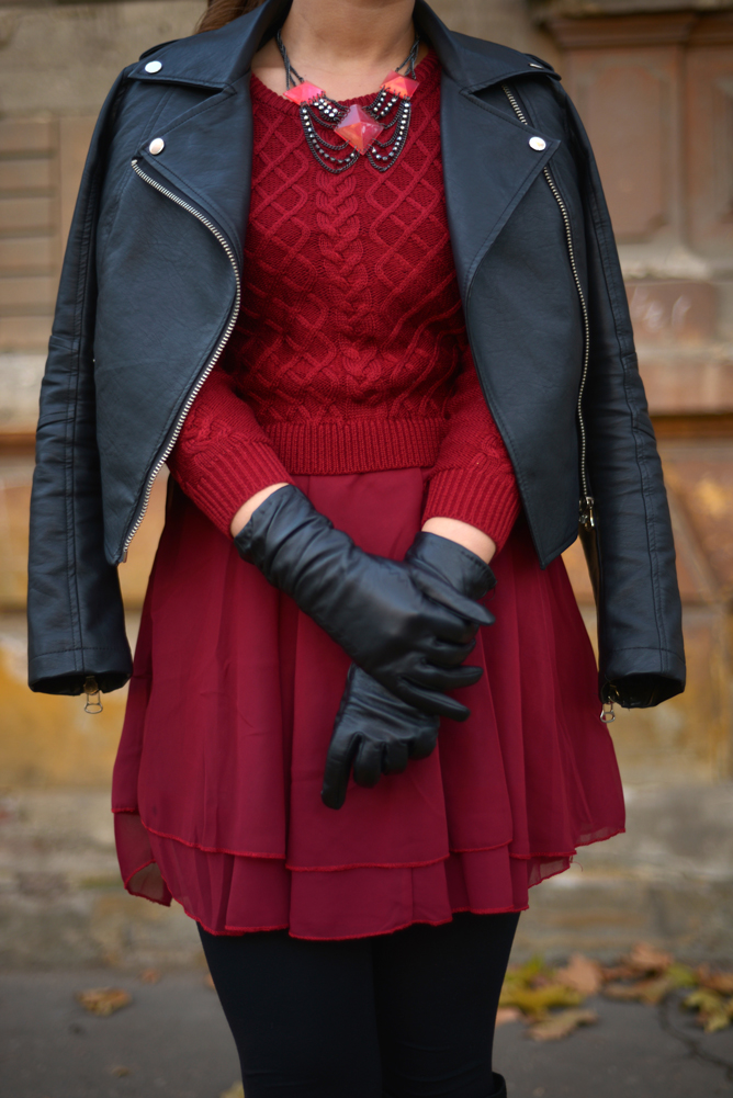 tinuta rochie burgundy geaca din piele iulia andrei fashion blog