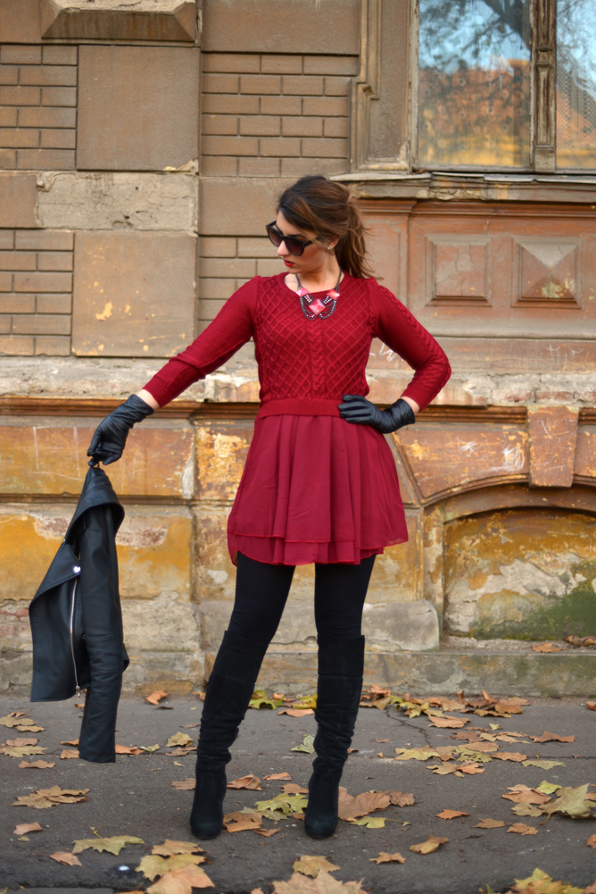 Rochie Burgundy 2 in 1: Lana si Voal