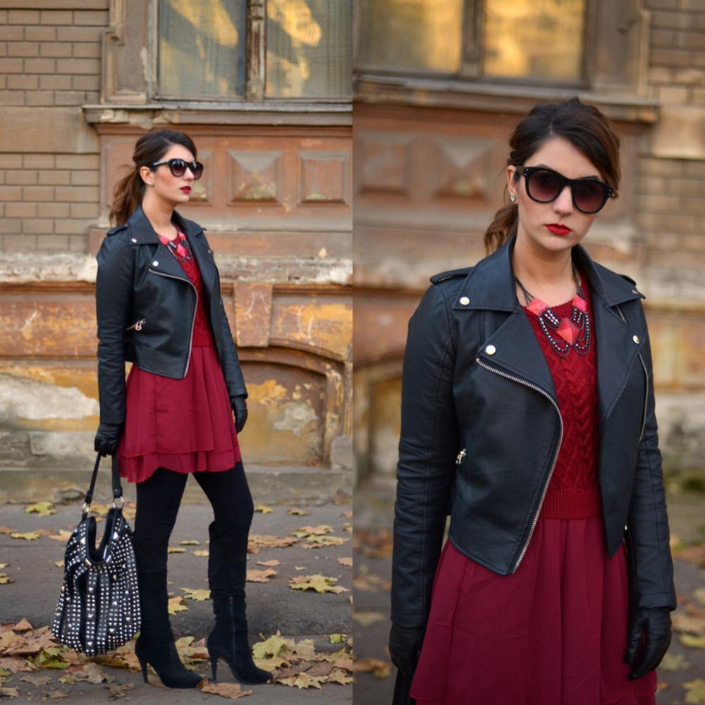 iulia andrei fashion blog tinuta rochie burgundy geaca de piele