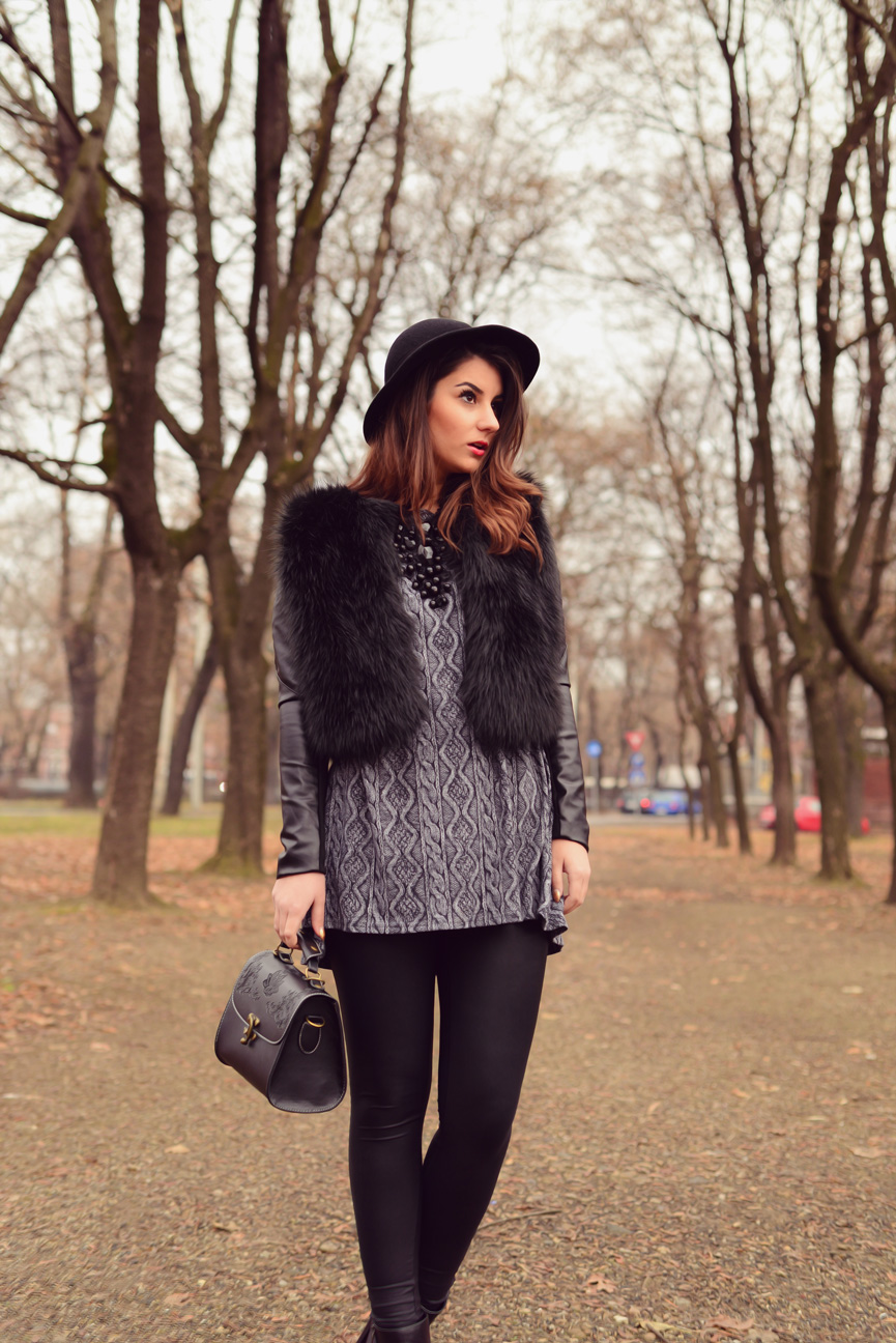 tinuta geaca de blana si piele iulia andrei fashion blog