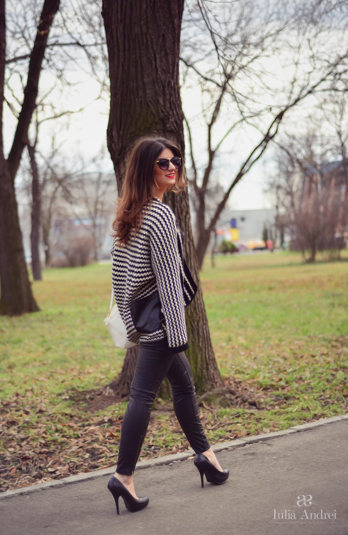 tinuta cardigan tricotat alb negru pantaloni din piele si ochelari de soare iulia andrei fashion blog