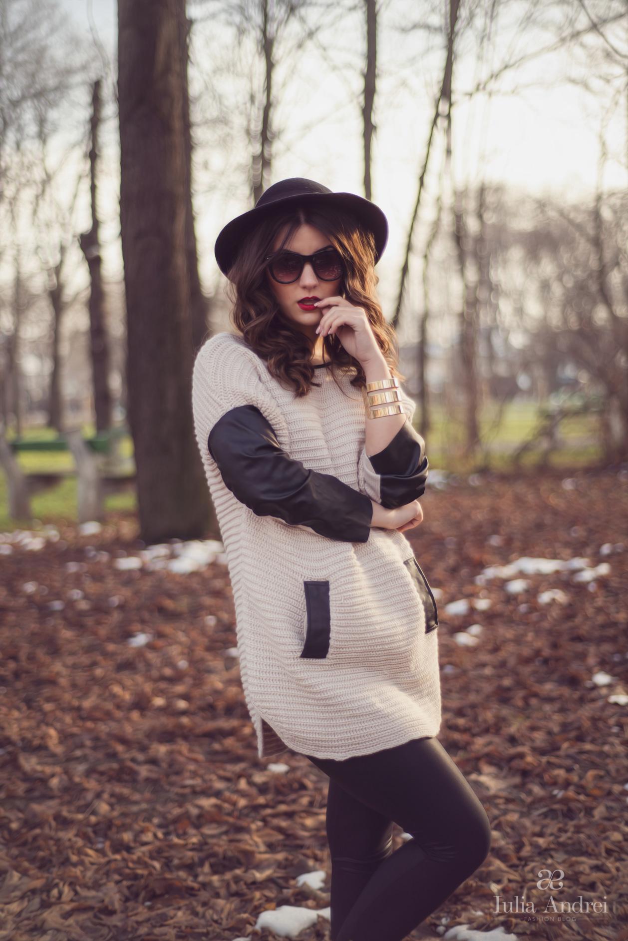 tinuta pulover alb tricotat cu maneci din piele iulia andrei fashion blog