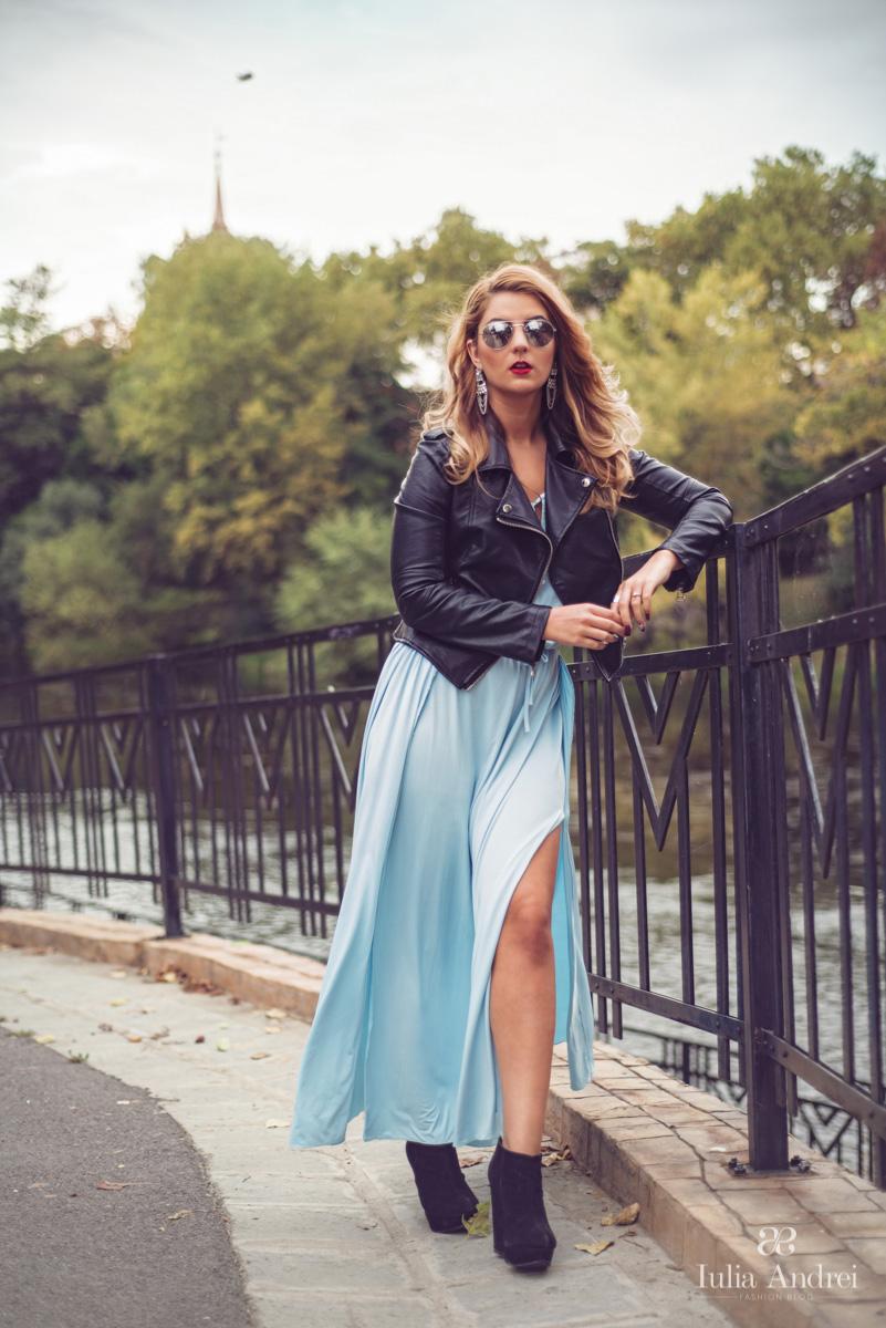 Combinatii inedite, rochia maxi si geaca din piele Iulia Andrei Fashion Blog