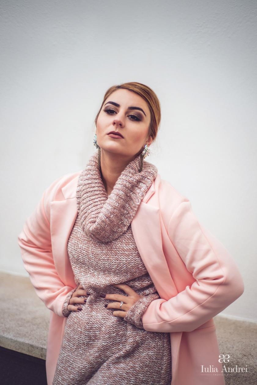 Toamna in culori pastelate si tricotaje Paltonul powder pink Romwe Iulia Andrei Fashion Blog