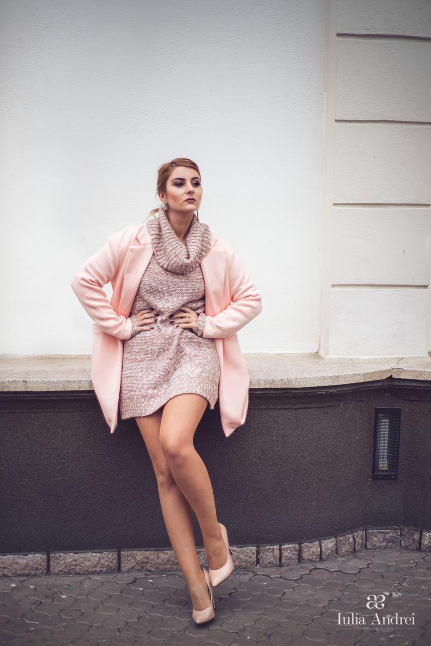 Palton pastelat, rose quartz