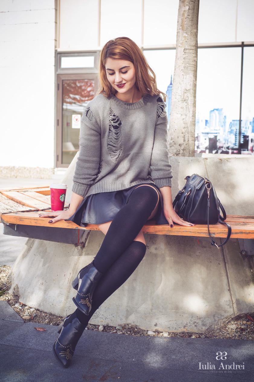 Cum adaptam tinutele de toamna la temperaturile de iarna bluza rupta sheinside  Iulia Andrei Fashion Blog