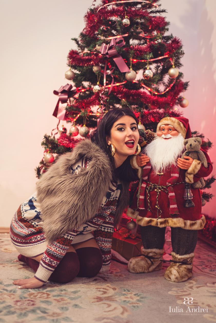 Lista pentru Mos Craciun, Pulover cu Imprimeu de sarbatori Sheinside Iulia Andrei Fashion Blog
